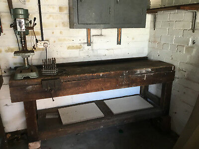 Vintage Work Bench with Vice & NU Tool 5 Speed Drill Press
