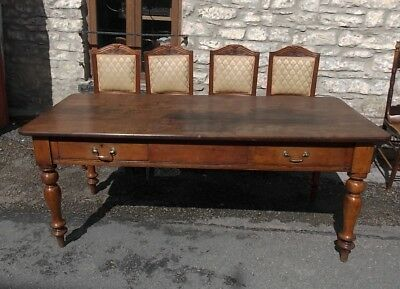 Antique Victorian farmhouse KITCHEN TABLE 2 drawer oak & walnut bakers seats 8