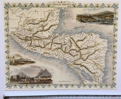 "Antique vintage colour map 1800s: Central America: Tallis 13 X 9"" Reprint"
