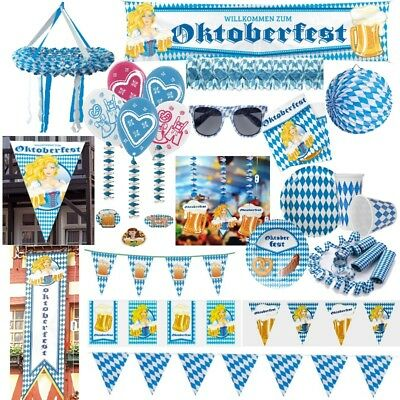 WOW Oktoberfest Party Dekoration Bayern Bavaria Wiesn blau weiss Raute Set Telle