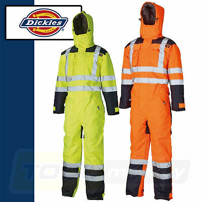 Dickies Waterproof Hi Vis Safety Coverall Yellow Orange, Lined Quilted SA7000