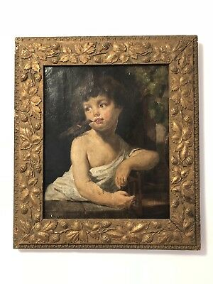 Beautifully Framed Antique Signed Oil Painting on Canvas Of A Child With A Bird
