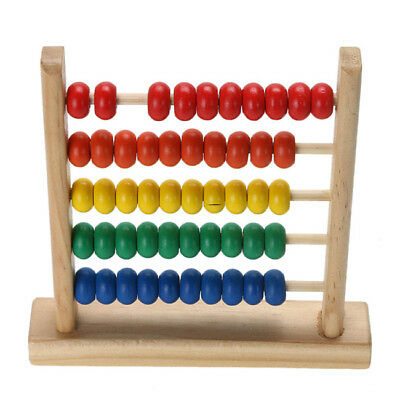Rainbow Wooden Counting Bead Abacus Toy Counter Educational Calculating 6A