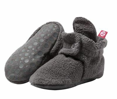 Zutano PFLG00-GRAY Cotton Gripper Booties For Baby Boys/Girls - Gray - 12 Months