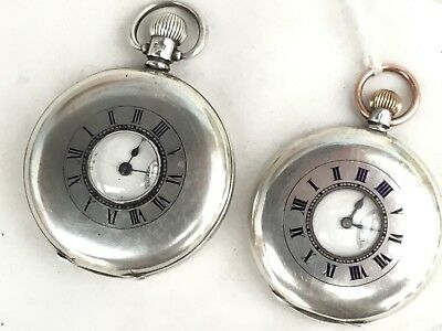 2 Silver Half Hunter Pocket Watches, Both 1925 - Working - Longines And Waltham
