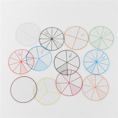 Transparent Line Numbered Fractions Circles Kids Early Math Education Toys 6A