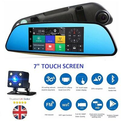 805 7'' Android Dual Lens Car Rear View Mirror Camera DVR GPS Dash Cam WIFI UK