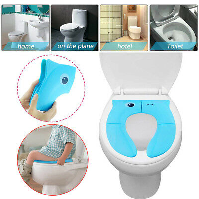 Foldable Potty Training Seat Baby Toilet Potty Seat Covers Non Slip Pads Blue UK