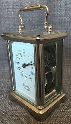 Vintage WOODFORD Chrome Mantel Carriage Clock Skeleton Alain Movement