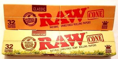 2x32 RAW Classic & Organic Hemp, King Size Pre Rolled Cones Rolling Paper 64 PCS