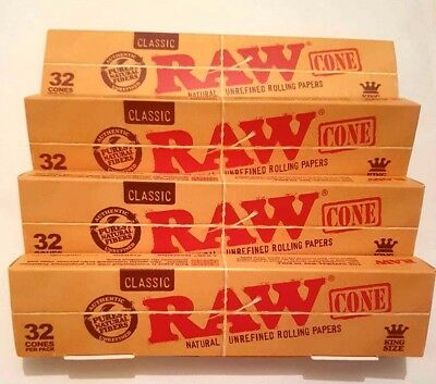 4x32 Pcs RAW Classic Hemp King Size Pre Rolled Cones Rolling Paper 128 PCS TOTAL