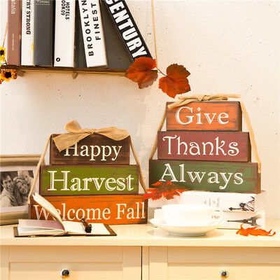 Glitzhome Handcrafted Wooden Thanksgiving Fall Block Set Home Welcome Sign Décor