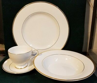 Mikasa HK 302 CAMEO GOLD Dinner Plate, Rimmed Soup Bowl, Cup & Saucer  M76