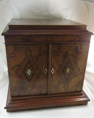 Antique Wooden Jewellery casket Sewing Box Etui Large 1880 Victorian