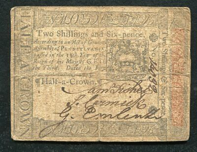 PA-165 OCTOBER 1, 1773 2s 6p TWO SHILLINGS SIX PENCE PENNSYLVANIA COLONIAL