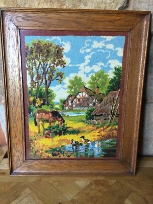 """Beautiful Vintage Tapestry English Country Farm Scene Framed VGC 20"""" X 25"""""""