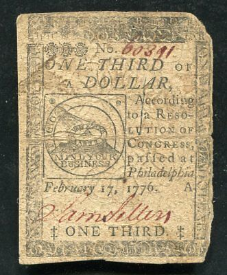 Cc-20 February 17, 1776 $1/3 One Third Dollar Continental Currency Note