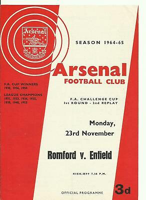 Romford v Enfield 23.11.64 ((FAC 1st Round 2nd Replay at Arsenal)