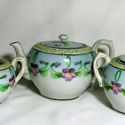 Hand Painted Moriage Japan Violets 3pc Tea Pot Sugar Creamer Set Nippon Noritake