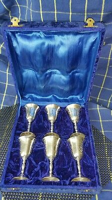 Vintage set of 6 Decorative EPNS Silver Plate Sherry Goblet in Presentation Box