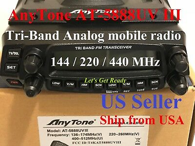 AnyTone AT-5888UV III Tri-Band Analog 144/220/440 MHz Mobile Radio  US Seller