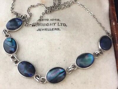 Vintage Jewellery very pretty Iridescent abalone shell links necklace