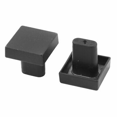 Home Metal Square Shaped Drawer Cabinet Door Handle Pull Knob Black 2 Pcs
