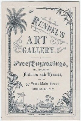 RARE Advertising Trade Card - Rundel Art Gallery Engravings 1880 Rochester NY