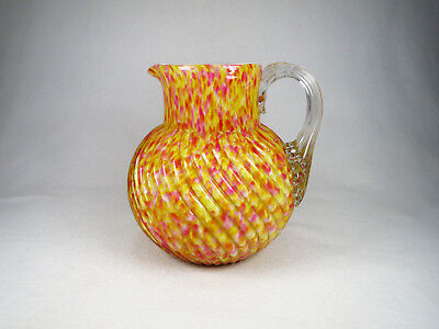 Antique Large Victorian Cased Spatter Glass Pitcher Swirl Yellow Pink Welz?