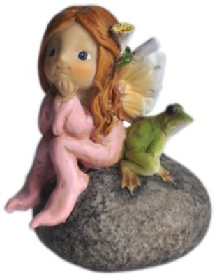 My Fairy Gardens Fairy on Rock with Frog Accessories Figure Miniature 4077