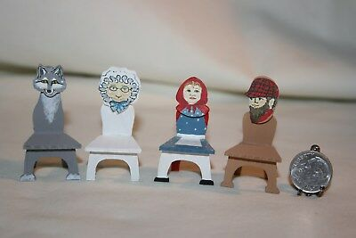Miniature Dollhouse Ferbie Claudon 4 Little Red Riding Hood Character Chairs