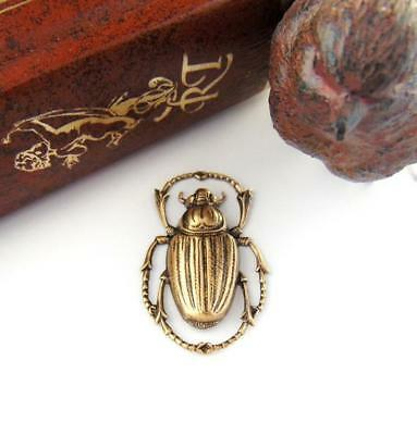 ANTIQUE BRASS Egyptian Scarab Beetle Stamping Jewelry Oxidized Finding (C-408)