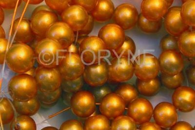 Lot De 12 Perles Rondes 8Mm En Verre Orange