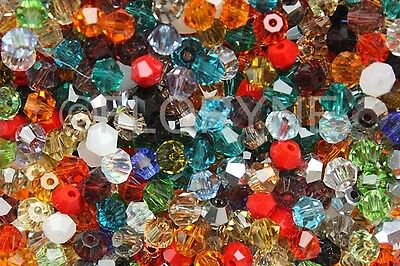 50 Perles Toupies 4Mm En Verre Multicolore