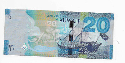 Kuwait 20 Dinars Circulated Note Currency SN 666030