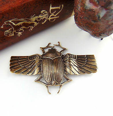 ANTIQUE BRASS Large Scarab BEETLE Wings Stampings ~ Oxidized Finding (C-406)