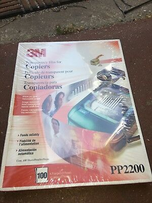 3M Transparency Film for Copiers, PP2200, New, Factory Sealed, 100 Sheets