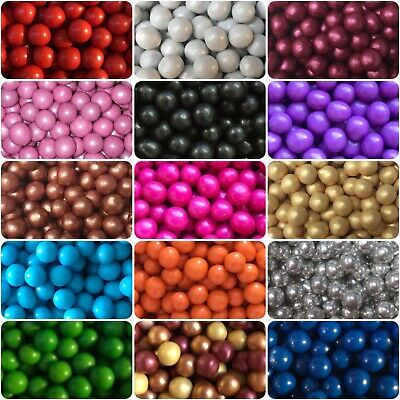 5mm Choco Pearls Pink Red Blue Gold White Non Pareils Balls Cake Decorations