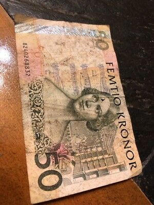 Swedish kronor 50 note paper bill money circulated sweden