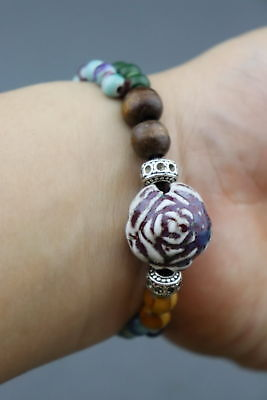 China Porcelain & Miao Silver Carve Blooming Flower Exquisite Girl Bracelet Gift