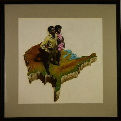 """1960 """"The Black Americans"""" Standing on US Map Illustration Art Oil on Board WOW!"""