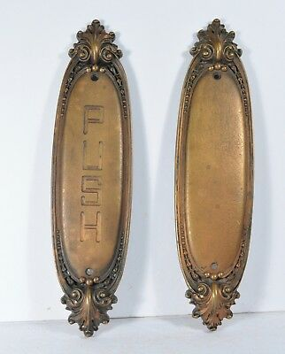 Antique Bronze Door Push Plates Fancy Victorian Pair Salvage