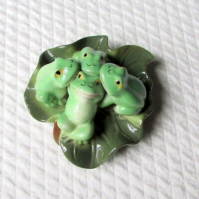 Four Ceramic Frogs Sharing a Leaf...Whimsical and Pretty!  Now 50% Off!