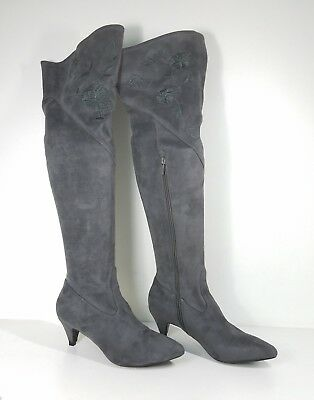 49ca74d6eb8  99 size 8 Impo Edeva Steel Embroidery Over Knee Heel Boots Womens Shoes