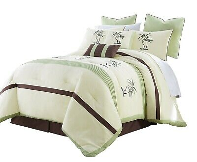 Chezmoi Collection Bali 8pc Embroidered Palm Trees Pleated Striped Comforter Set