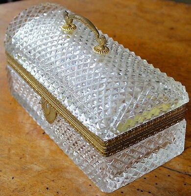 Fabulous Antique French Cut Crystal Ormulu Jewelry Casket Perfect