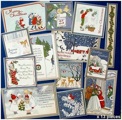 CHRISTMAS WONDERLAND ASSORTED CARD TOPPERS x 13 PIECES VARIOUS SIZES, VERY SWEET