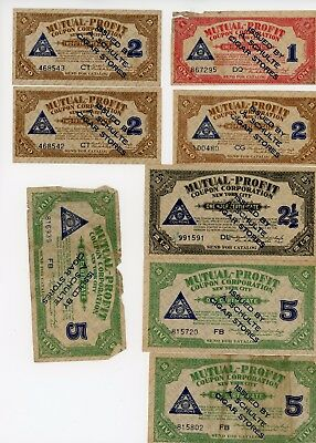 Lot Of 8 Mutual Profit Schulte Cigar Stores Coupons