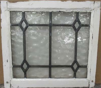 """OLD ENGLISH LEADED STAINED GLASS WINDOW Simple Gorgeous Diamonds 21"""" x 19.5"""""""