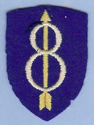 US Army 8th Infantry Division Patch WWII, Embroidered on Wool